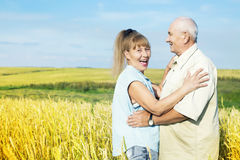 Happy elderly couple outdoor Royalty Free Stock Images