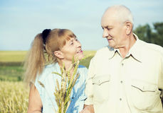 Happy elderly couple outdoor Stock Images