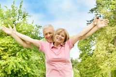 Happy elderly couple outdoors Stock Photos