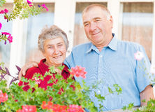Happy elderly couple. The portrait of a happy elderly couple Royalty Free Stock Photography