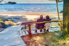 Happy elderly couple resting on the wooden bench Stock Images