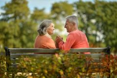 Happy elderly couple sitting on bench Stock Images