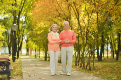 Happy elderly couple. Walking in autumn park Royalty Free Stock Photography