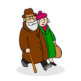 Happy elderly couple walking. Funny older man with a cane and a Stock Photography
