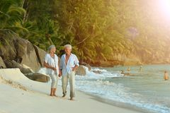Couple walking on  tropical beach. Happy elderly couple walking on  tropical beach Stock Image
