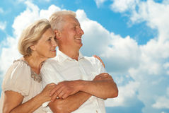 Happy elderly couple went for a walk Royalty Free Stock Photos