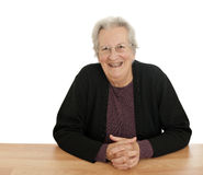 Happy, elderly lady laughing Stock Image