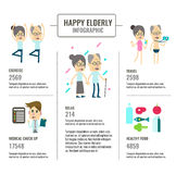 Happy Elderly living info graphics. royalty free illustration
