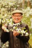 Happy elderly man. In the garden stock photo