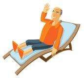 Happy elderly man lying on the sun lounger Stock Photos
