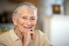 Happy elderly senior. Happy senior elderly woman portrait royalty free stock photography