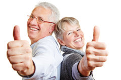 Happy elderly senior couple holding Royalty Free Stock Photo