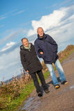 Happy elderly senior couple walking on beach stock image