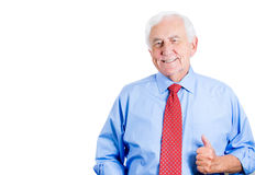 Happy elderly senior mature guy giving thumbs up Royalty Free Stock Images