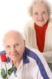 Happy elderly seniors. Isolated on white royalty free stock photos