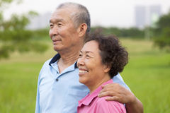 Happy elderly seniors couple in the park. Stock Photos