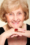 Happy elderly woman Royalty Free Stock Photos