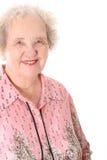 Happy elderly woman. Isolated on white Stock Image