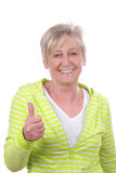Happy elderly woman in front of white Background Stock Image