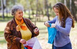 Happy elderly woman with her daughter Stock Photos