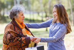 Happy elderly woman with her daughter Royalty Free Stock Photo