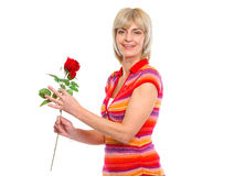 Happy elderly woman holding red rose Stock Photos