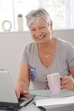 Happy elderly woman with laptop Stock Photo