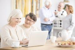 Happy elderly women using laptop stock images