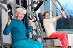 Happy Elderly Women Working Out at the Gym Royalty Free Stock Image