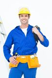 Happy electrician with wires against white background Stock Photography