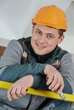 Happy electrician worker stock photo