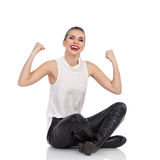 Happy Elegance Woman Legs Crossed Stock Photo