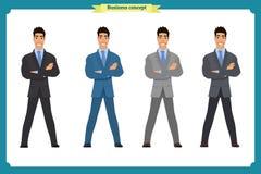 Happy elegant businessman in suit.Standing Person.Business man. Happy elegant businessman in suit.Isolated vector on white.Standing Person.Business man cartoon Stock Image