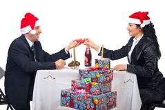 Happy elegant couple celebrate Christmas night Stock Photography