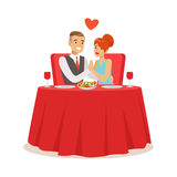 Happy elegant couple enjoying romantic dinner date while sitting in a cafe colorful characters vector Illustration Royalty Free Stock Image