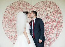 Happy elegant gorgeous married couple kissing on the background Stock Photography