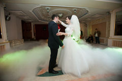 Happy elegant gorgeous married couple performing first dance wit Stock Image