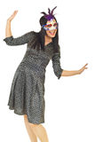 Happy elegant woman with carnival mask Stock Photos