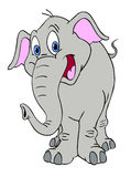 Happy Elephant. Hand drawn cartoon of a cute large elephant smiling Royalty Free Stock Photo