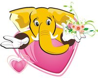 Happy elephant with bouquet of flowers Royalty Free Stock Images