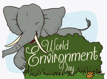 Happy Elephant Celebrating World Environment Day, Vector Illustration Stock Image