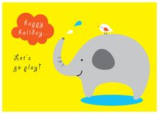 Happy elephant greeting card. Happy elephant play water in the happy holiday Royalty Free Stock Photo