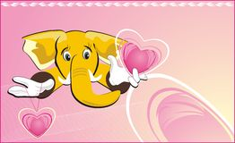 Happy elephant with hearts Royalty Free Stock Photos