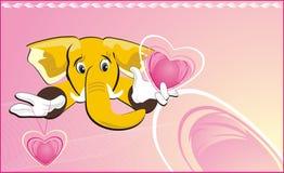 Happy elephant with hearts Royalty Free Stock Photos