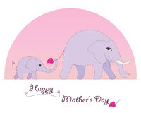 Happy Elephant Mother's Day card Royalty Free Stock Photo