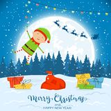 Elf on Winter Background with Gifts and Christmas Lights. Happy elf with colorful Christmas lights and gifts. Text Merry Christmas and Happy New Year on winter vector illustration