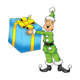 Happy Elf with gift. Image of a very happy elf with a big gift Stock Photos