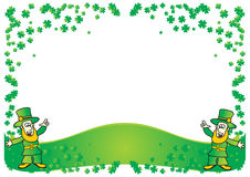 Happy elfs. And clover St. Patrick postcard vector illustration