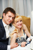 Happy embrace bride and groom Royalty Free Stock Photos