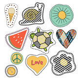 Happy embroidery colorful summer patches collection. Royalty Free Stock Photo